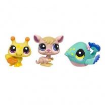 """25844/ast93664 Набор из 3-х зверушек серии """"Маленький зоомагазин"""" Littlest Pet Shop. Шмель, кенгуру и кит Hasbro"""