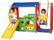DS-703 Игровой центр Дом с горкой и качели с крышей Haenim Toys
