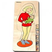 """17024 Развивающая игра деревянная Многослойный пазл """"Мама, откуда берутся дети"""" (от 4 лет)"""