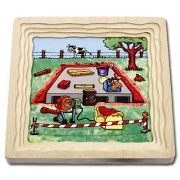 """17036 Развивающая игра деревянная Многослойный пазл """"Как построить дом"""""""